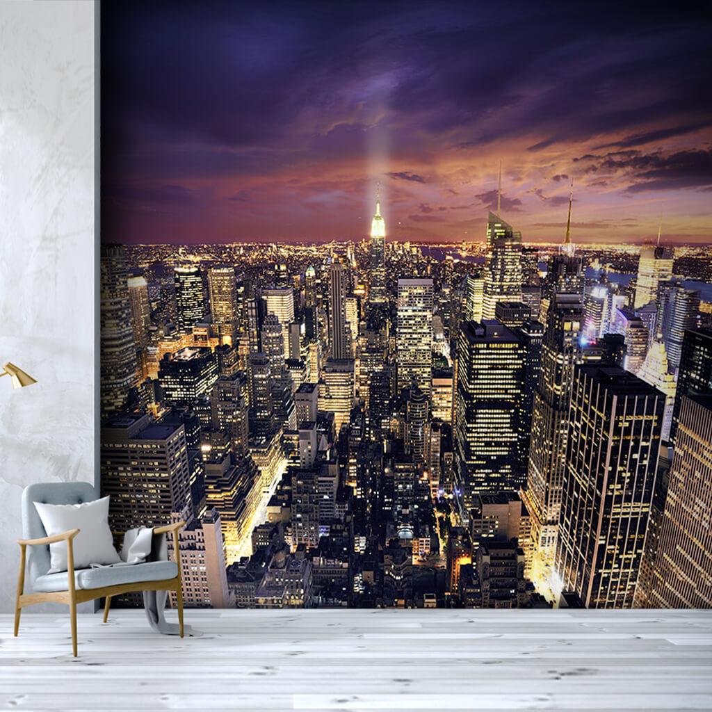 Bird eye view of New York City skyline at night wall mural