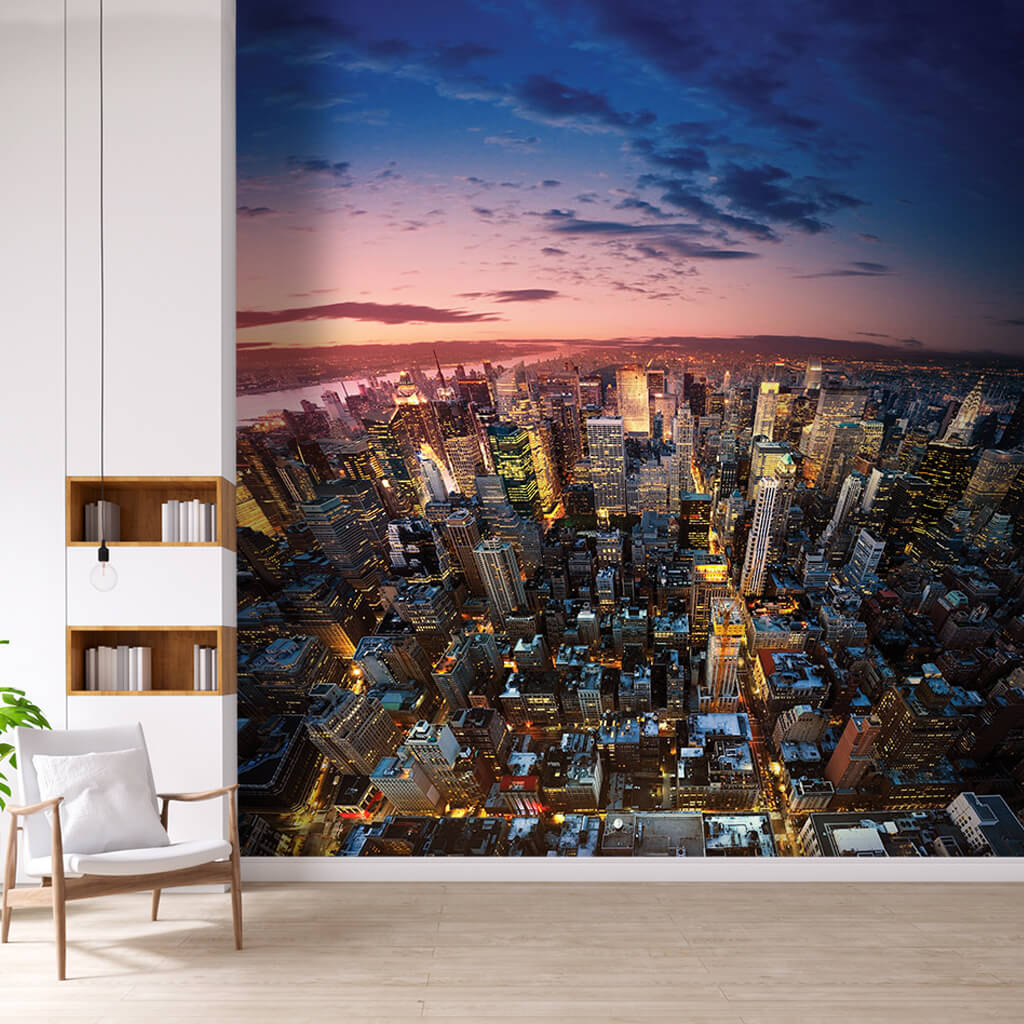 Bird eye view of Manhattan New York at night wall mural