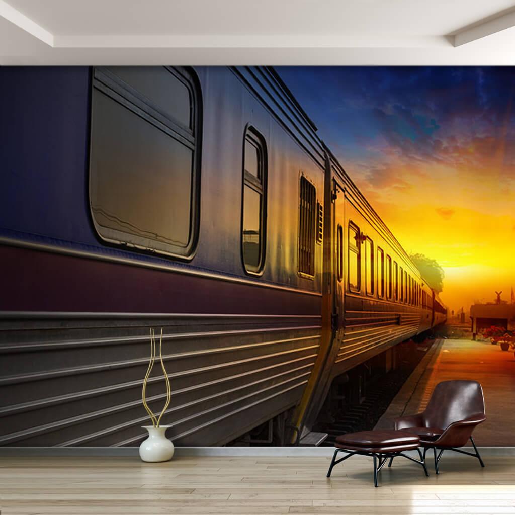 Gün batımı ve yolcu treni vagonları duvar kağıdı