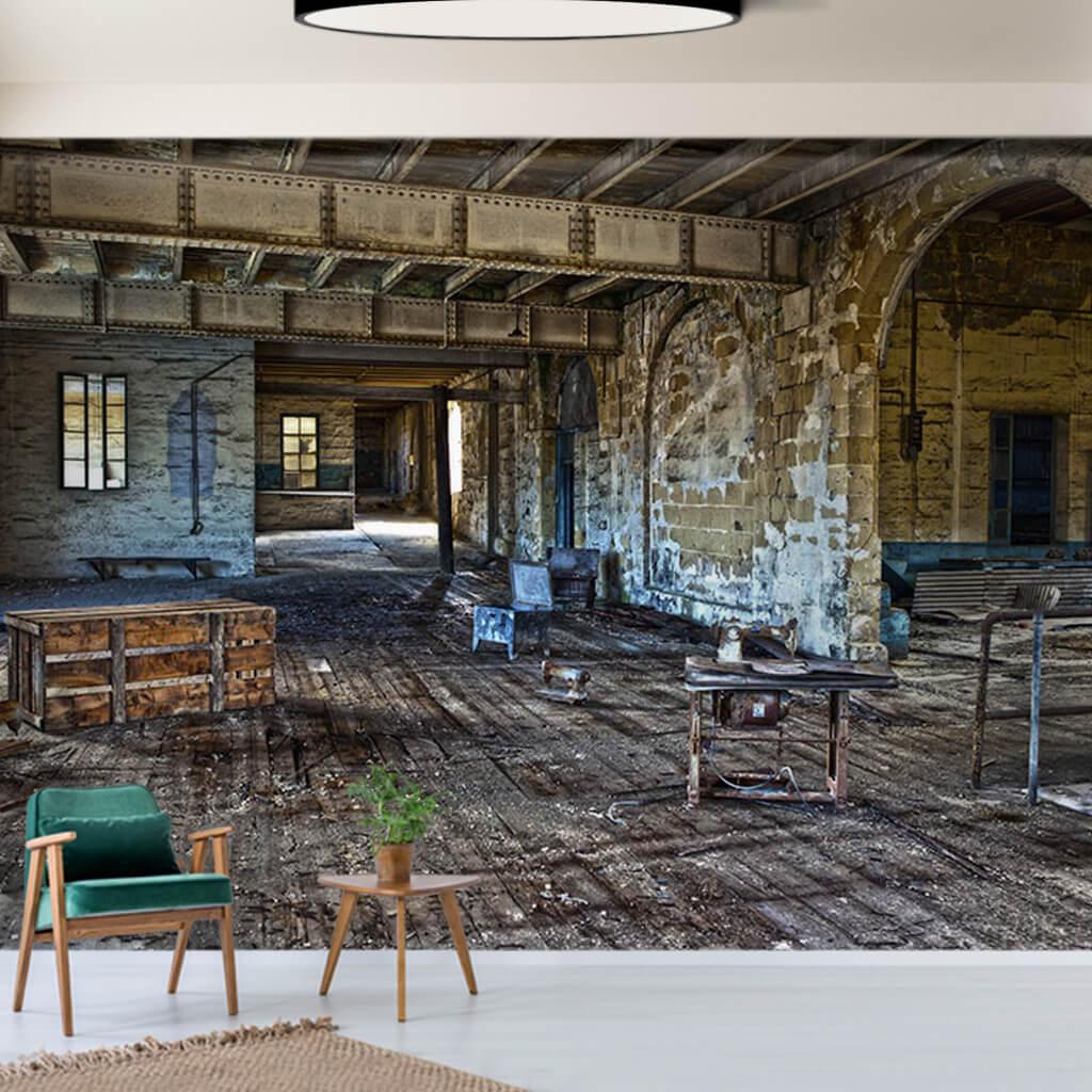 Eski harap sanayi atölyesi çatı katı iç görünüm duvar kağıdı