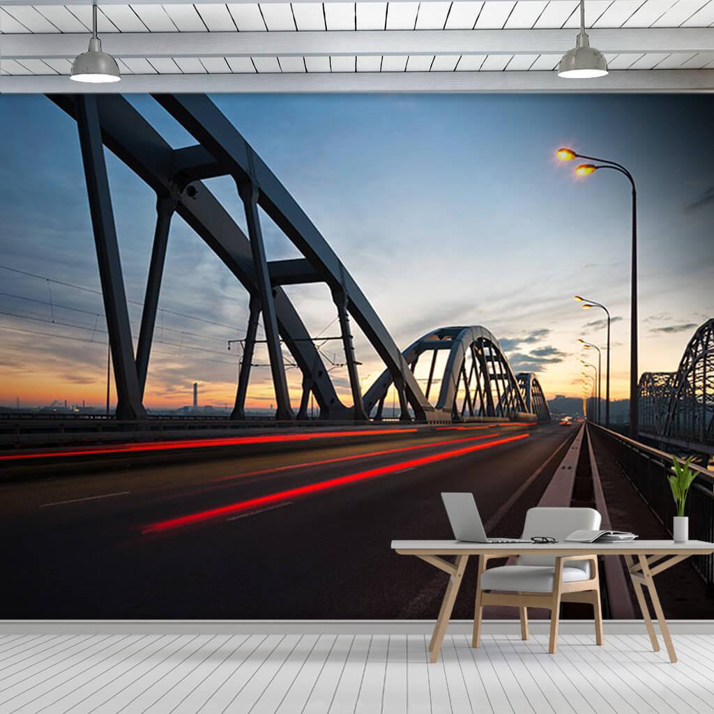 Çelik köprüde fren stop ışıkları uzun pozlama duvar kağıdı
