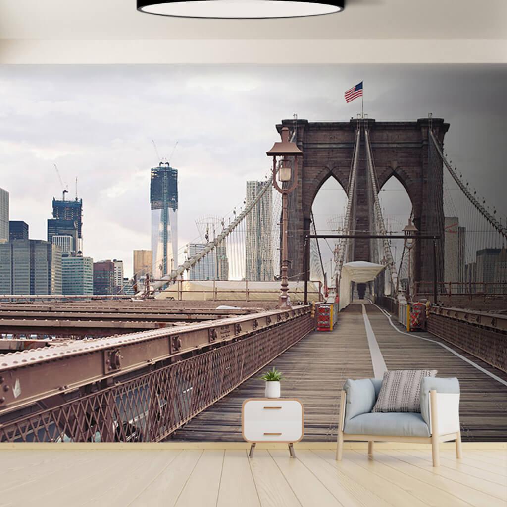 Amerikan bayraklı Brooklyn Köprüsü New York duvar kağıdı