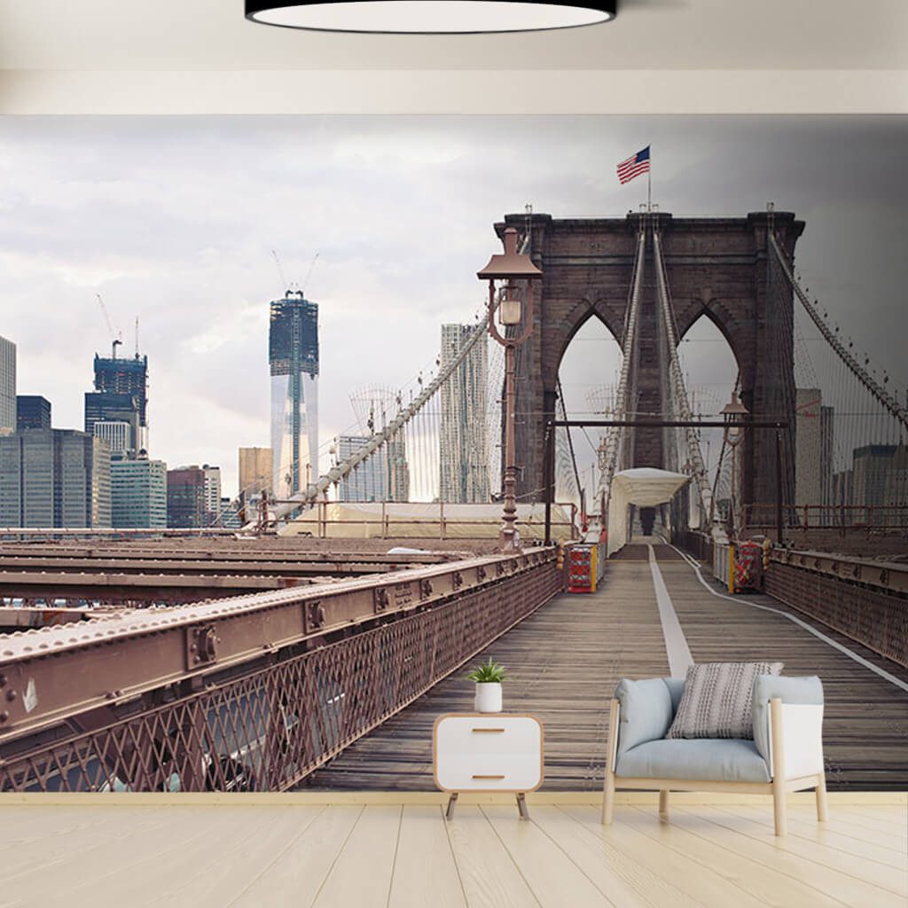 Brooklyn Bridge with American flags New York wall mural