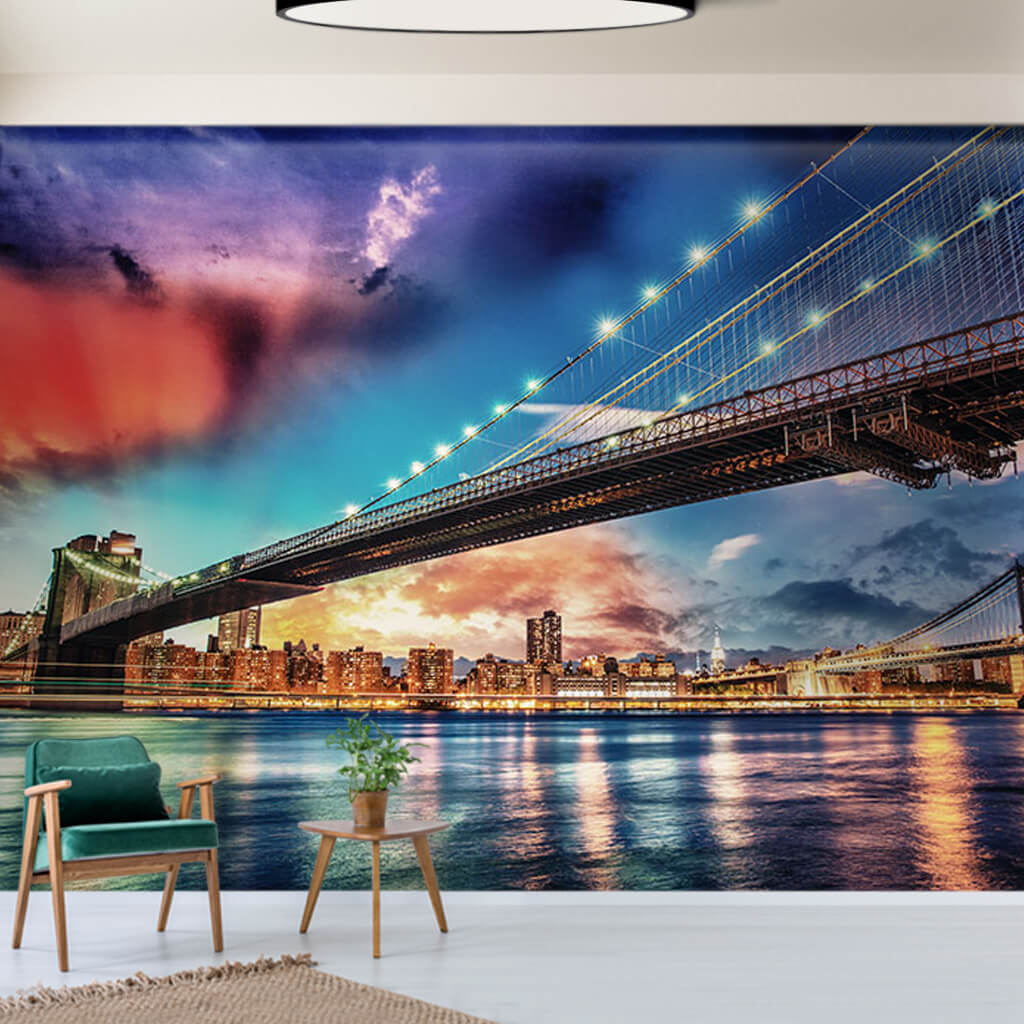 Brooklyn and Manhattan Bridges under colorful sky wall mural
