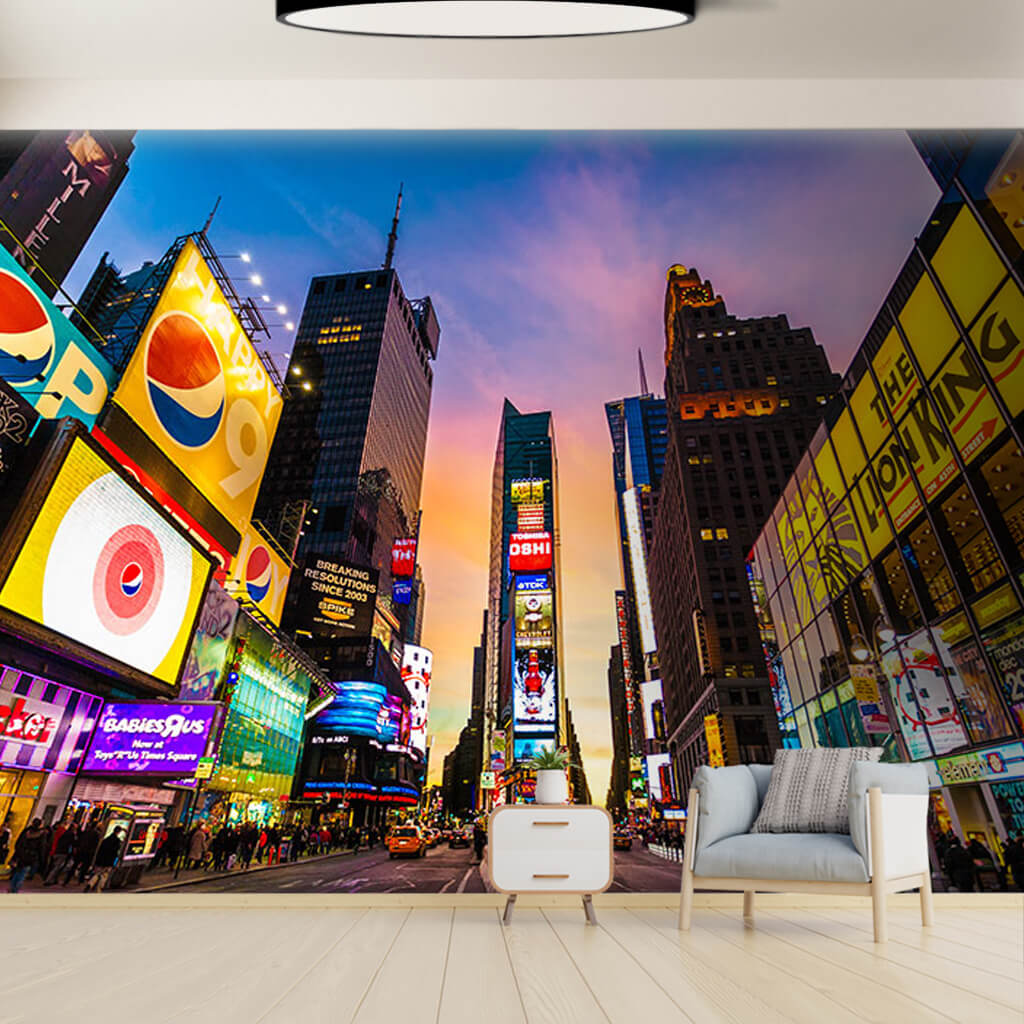 Advertising signs with lit lights of Times square wall mural