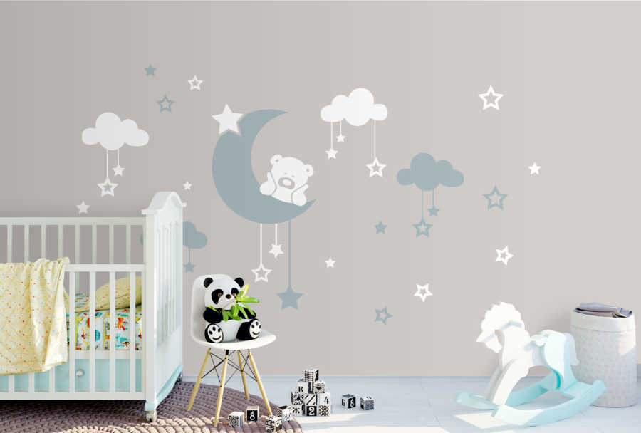 Baby boy wall mural with clouds stars moon and teddy bear
