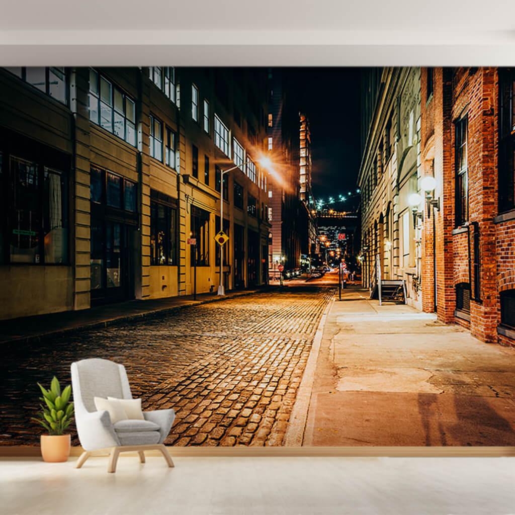 Gece taş döşeli arka sokak Brooklyn New York duvar kağıdı