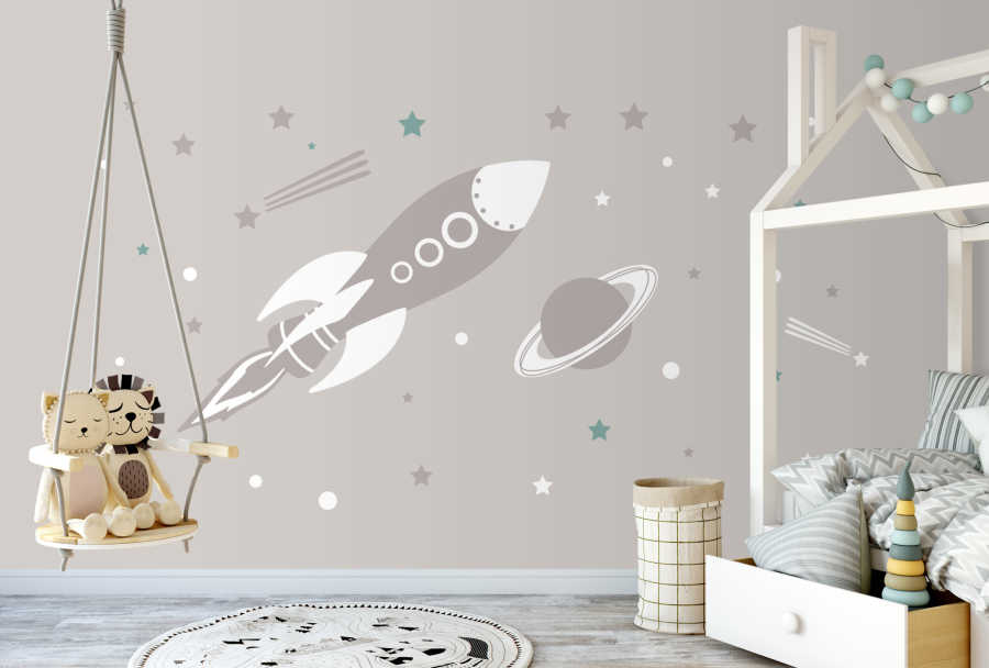 Baby room wall mural with space rocket stars and planet