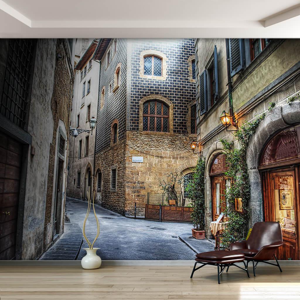Dar sokakları ve taş evleriyle Floransa duvar kağıdı