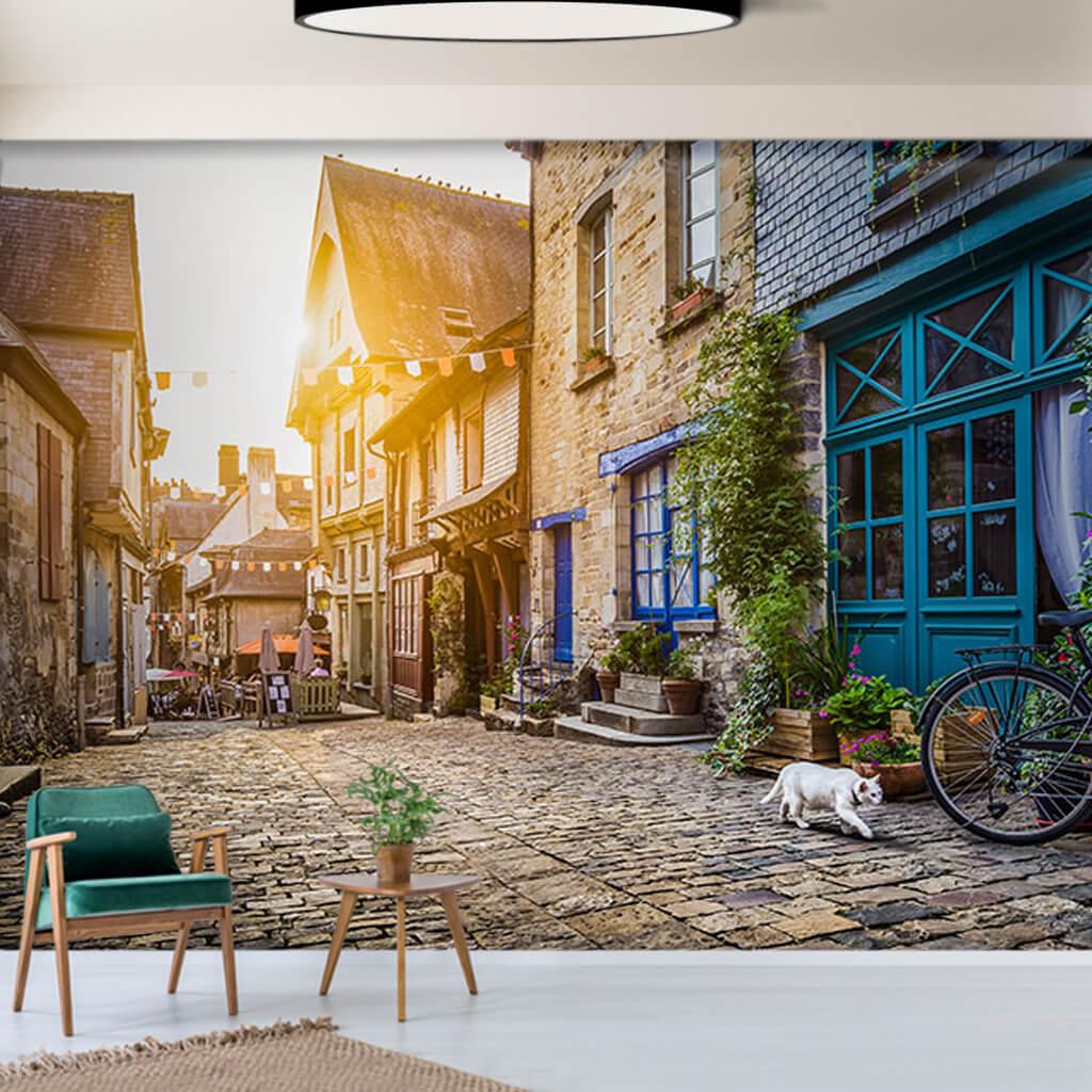 Cotes-d'Armor Köyü arnavut kaldırımlı sokak duvar kağıdı