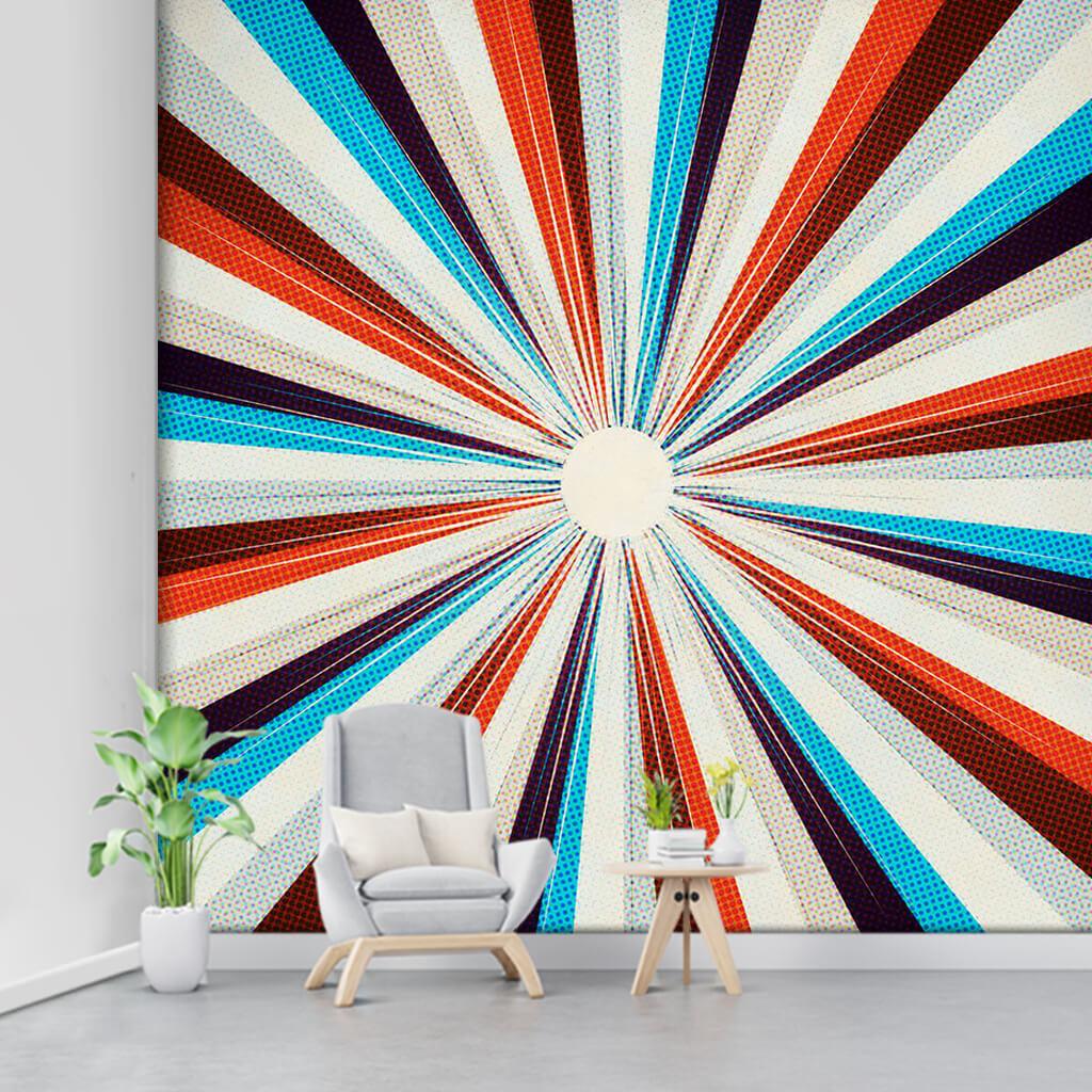 Merkeze giden kırmızı beyaz mavi çizgiler retro duvar kağıdı