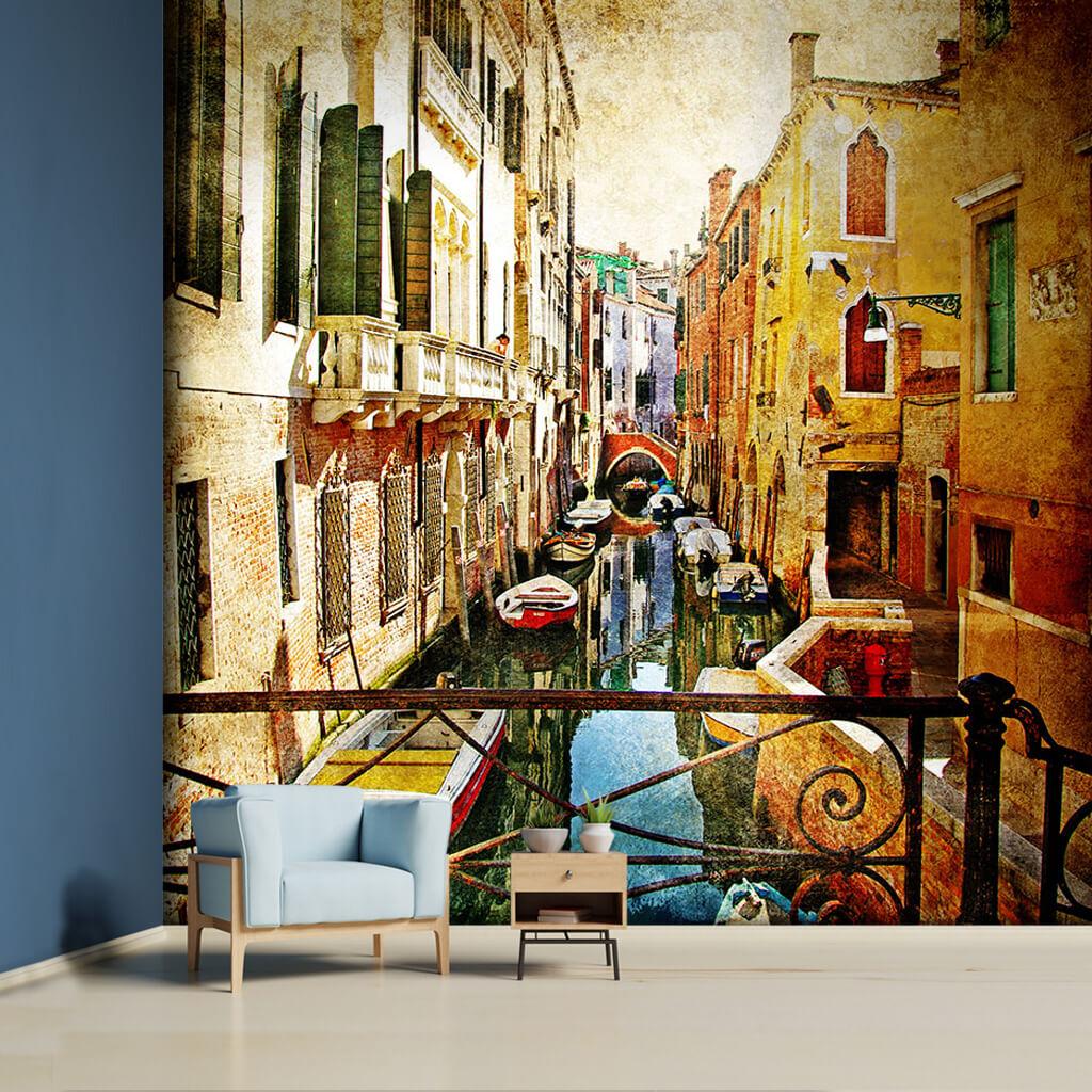 Su kanallarında kayıklar tekneler Venedik resmi duvar kağıdı