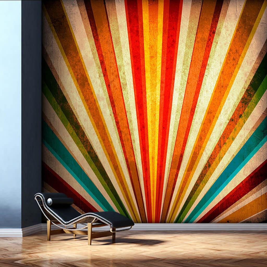 Renklerle yelpaze tavus kuşu efektli retro duvar kağıdı