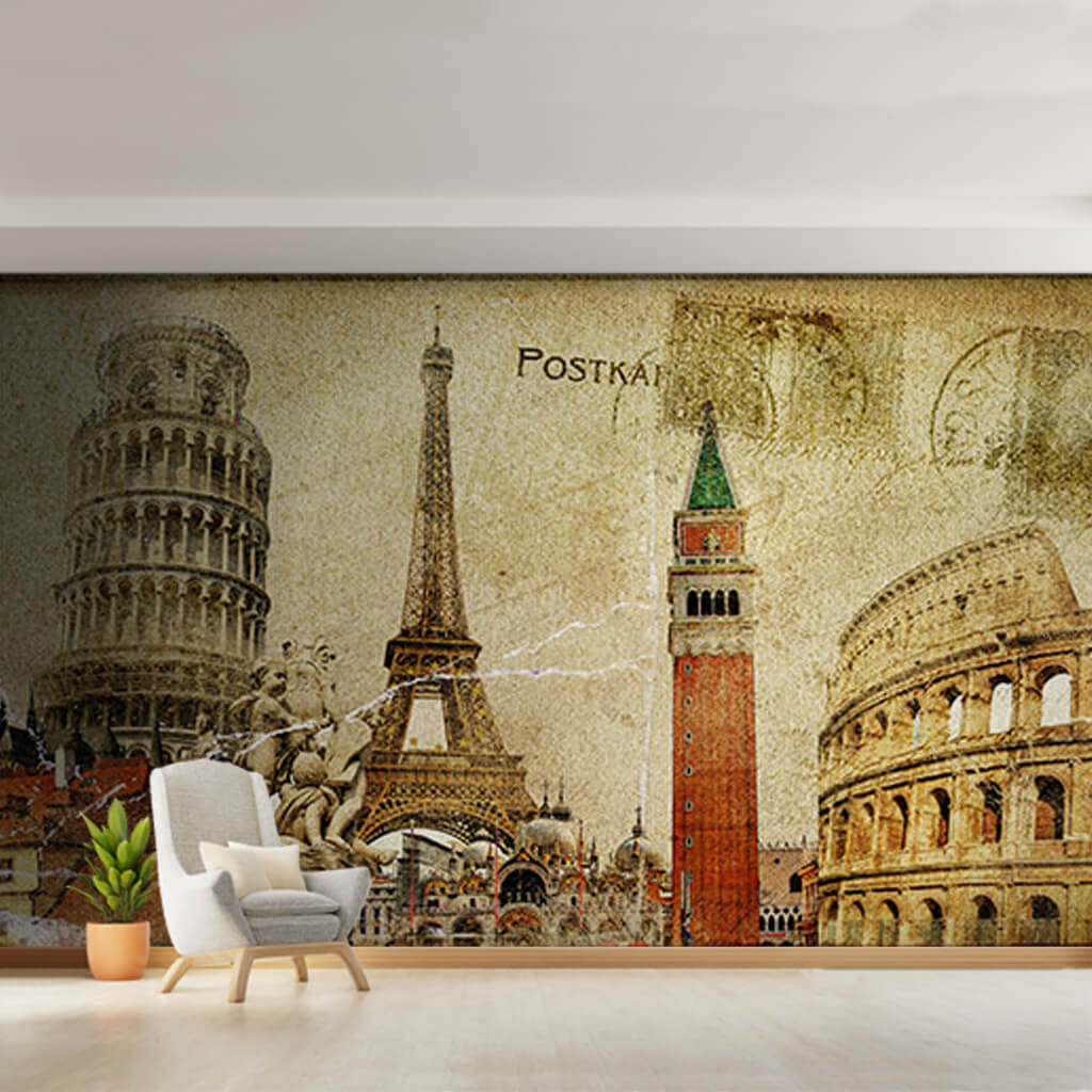 Antique vintage postcard with European icons wall mural
