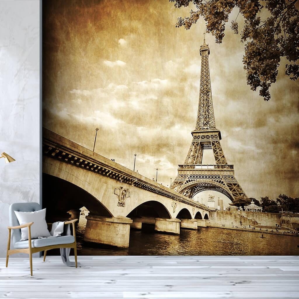 Eiffel tower and bridge sepia vintage custom wall mural