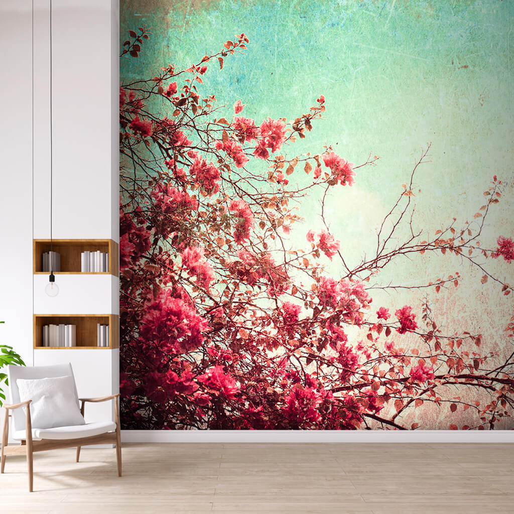 Red pink flowers and sky vintage scalable custom wall mural
