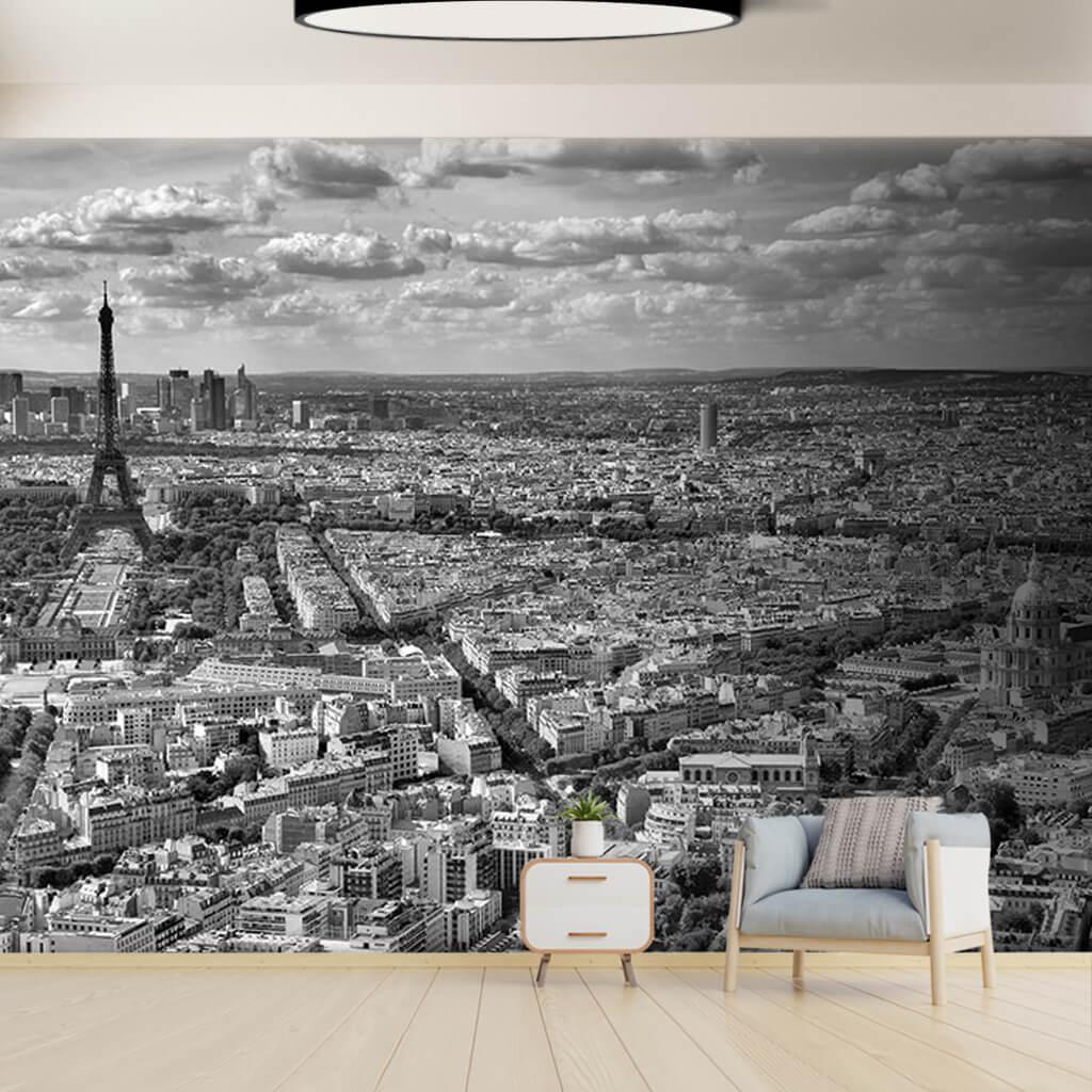 Paris City Skyline And Eiffel Tower Black White Wall Mural