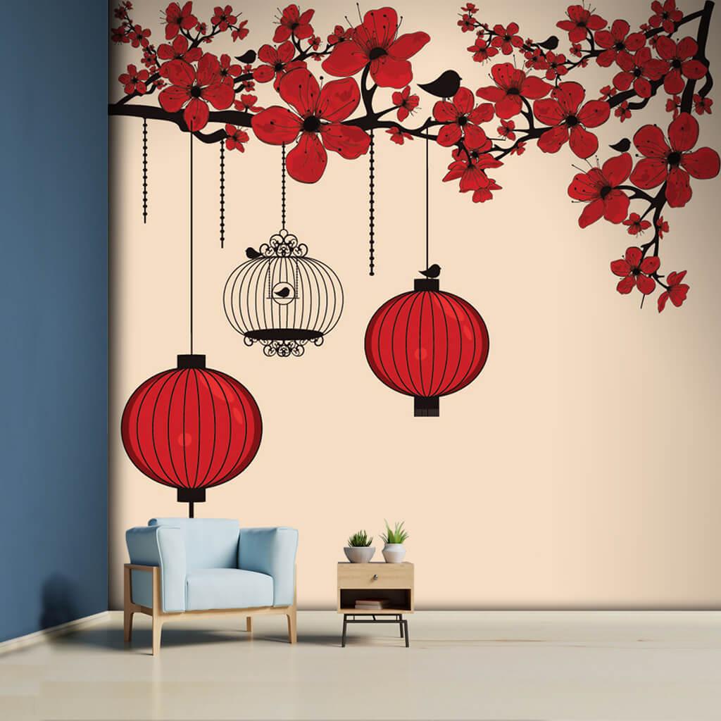 Kırmızı çiçekli dal kağıt fenerler vintage duvar kağıdı