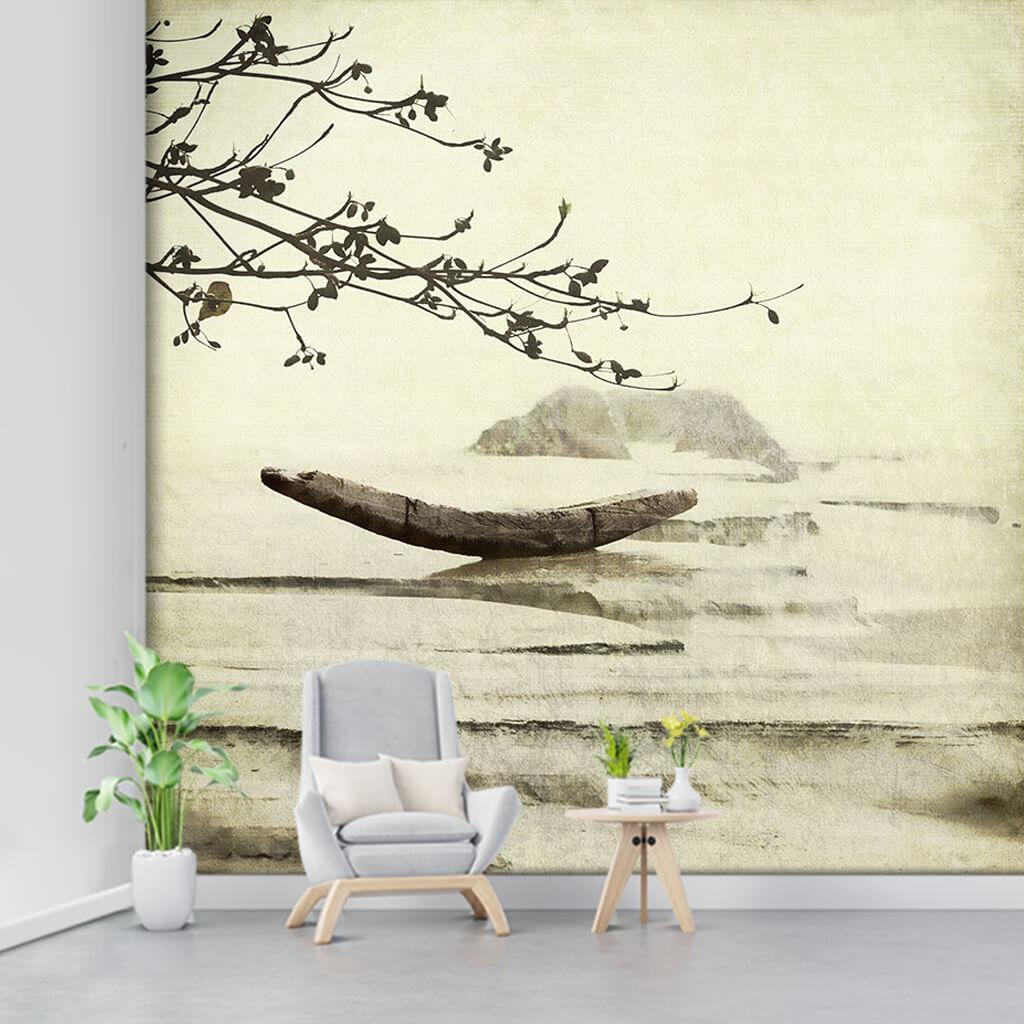 Denizde balıkçı teknesi ve badem dalı vintage duvar kağıdı
