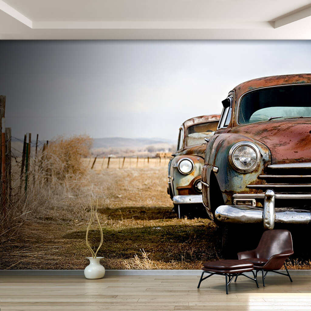 2 old abandoned rusty vintage cars in the field wall mural