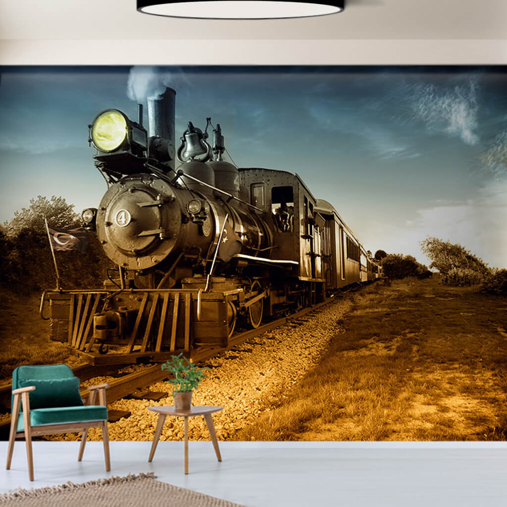 Old railway and steam train scalable custom wall mural
