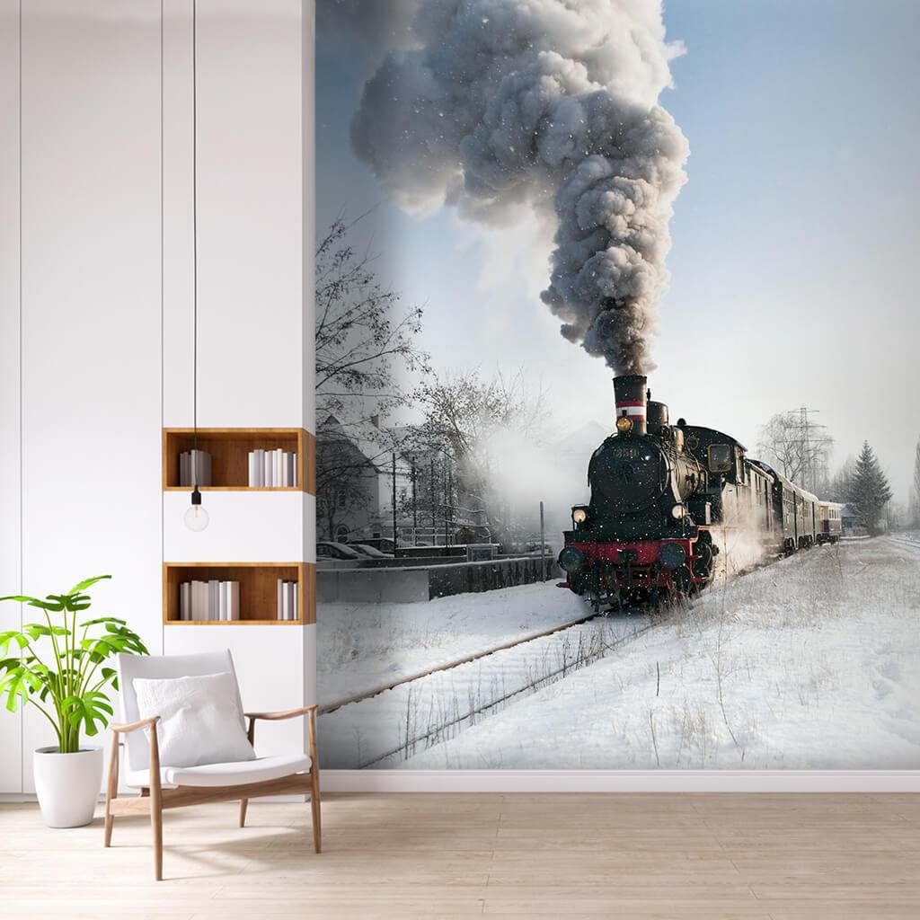 Steam train on snowy railway Siberian Express wall mural