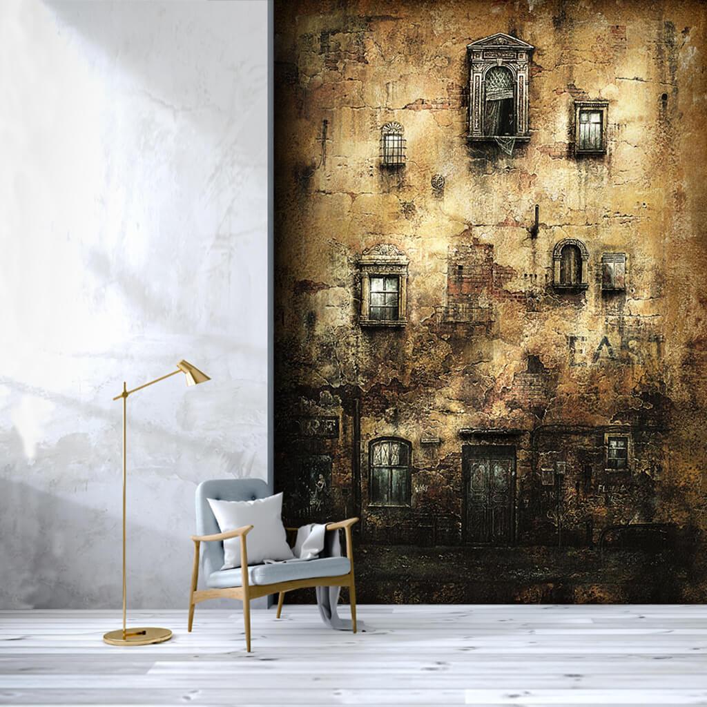 Sıvası dökülmüş eski duvarda tarihi pencereler duvar kağıdı