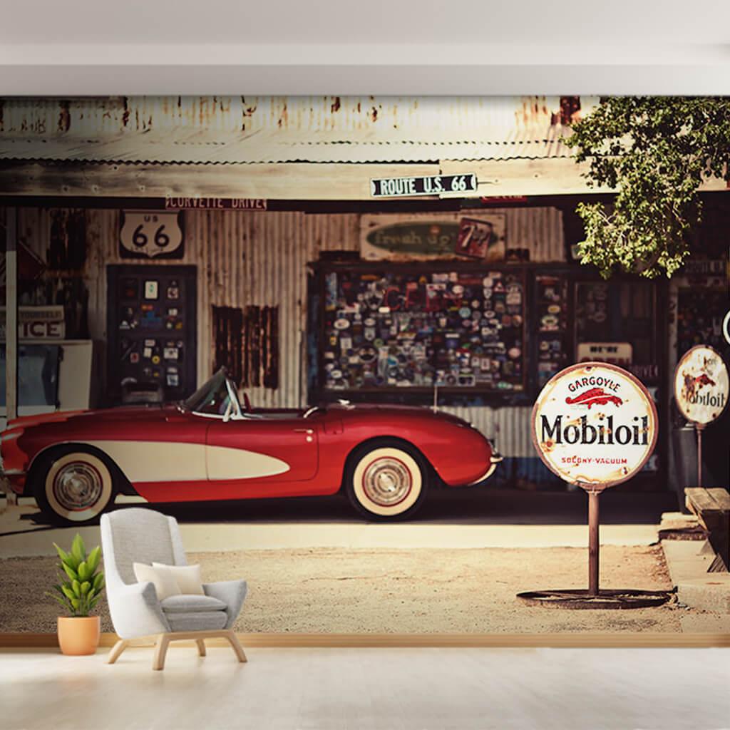 Tamirhanede kırmızı beyaz klasik Corvette vintage duvar kağıdı