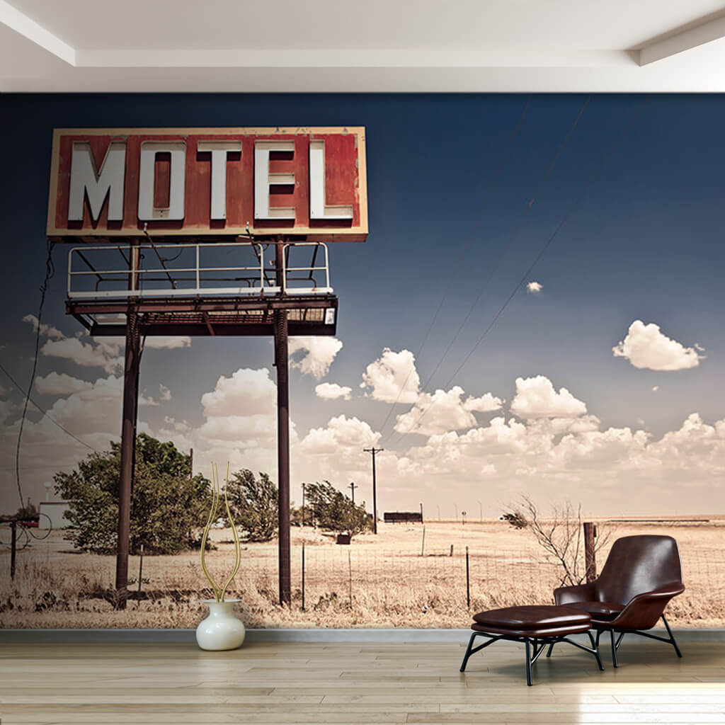 Route 66 old red Motel signpost vintage custom wall mural