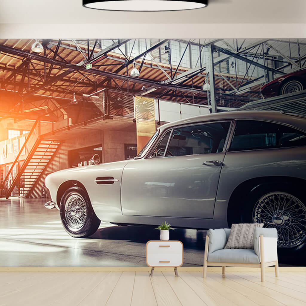 Gümüş rengi klasik spor araba vintage duvar kağıdı