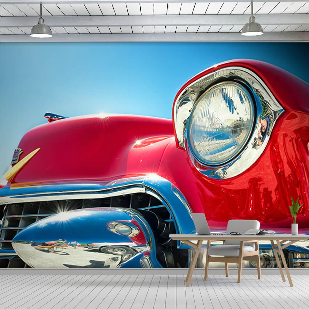Krom ve kırmızı klasik 55 Cadillac Coupe DeVille duvar kağıdı