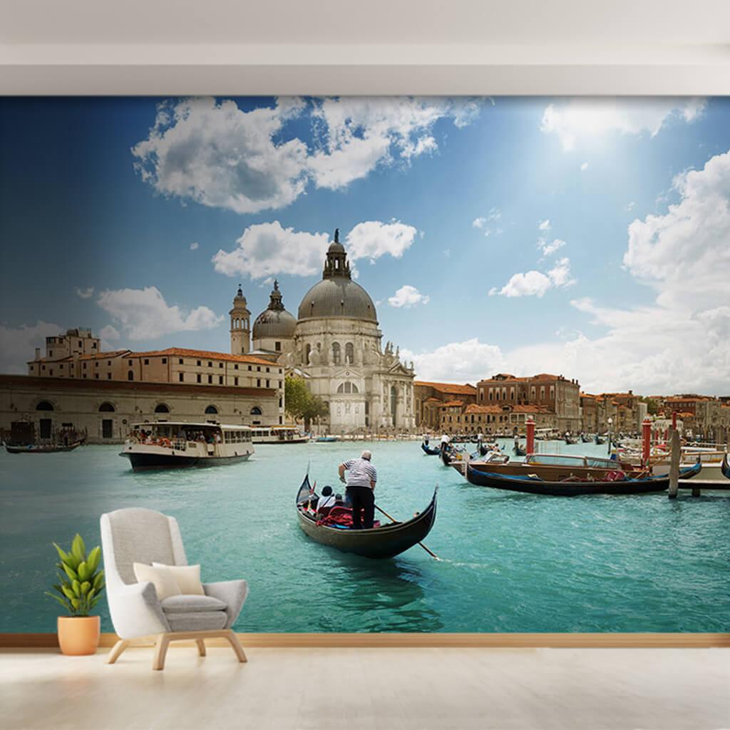 Basilica of Santa Maria and gondolas in Venice wall mural