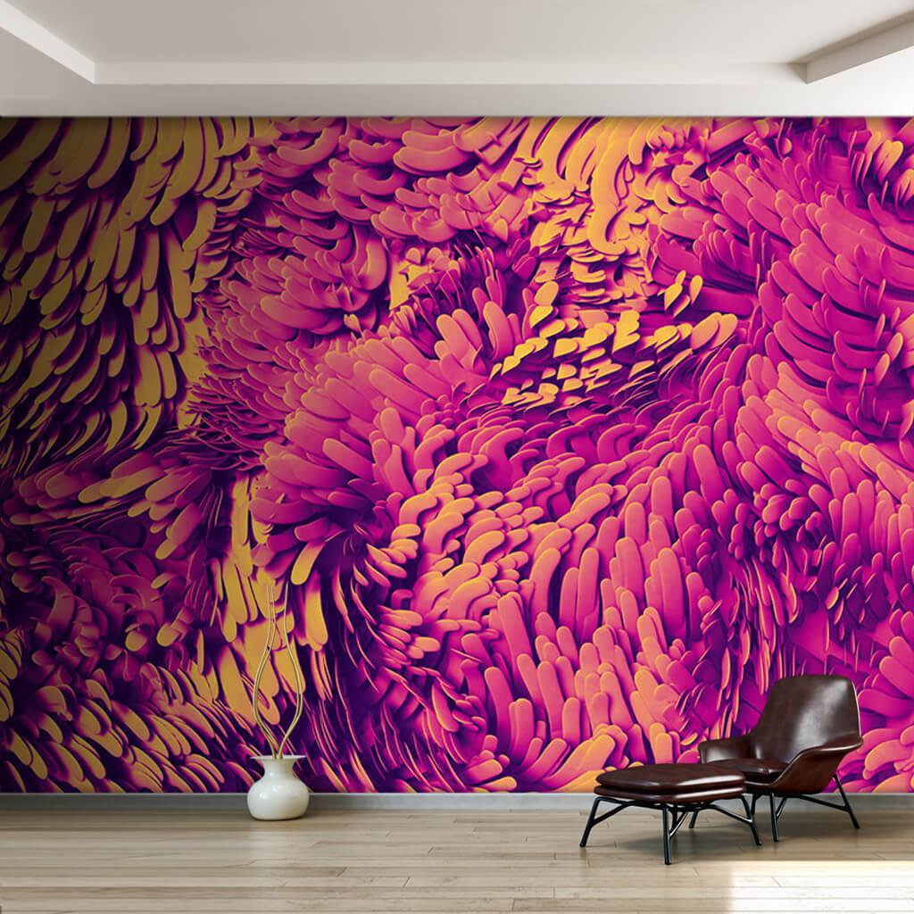 Yellow pink neon wave effect 3D pattern custom wall mural
