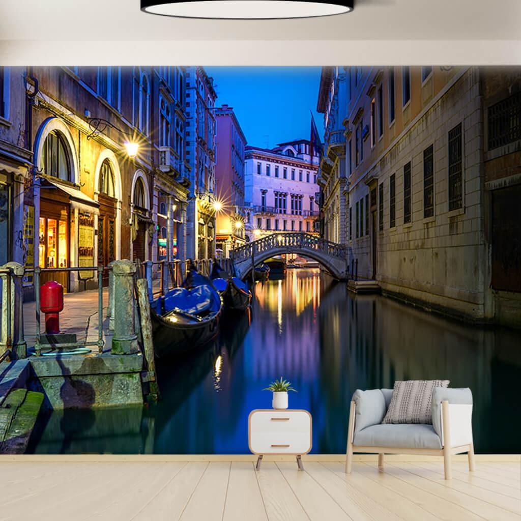 Bridge on the canal and gondolas Venice custom wall mural