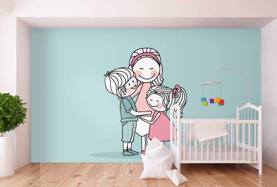 Anne kız ve oğlu aile sarılması çocuk odası duvar kağıdı