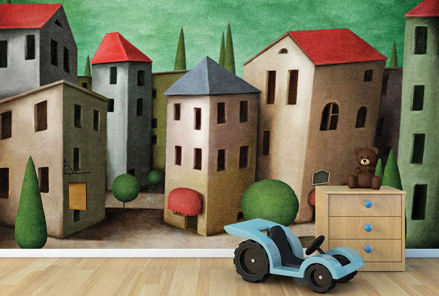 Children's room wall mural with houses and tree-lined streets