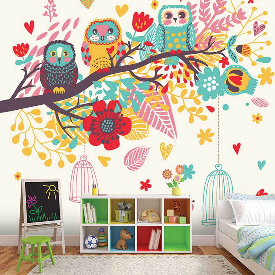 Children's room wall mural with colorful leaves and owls