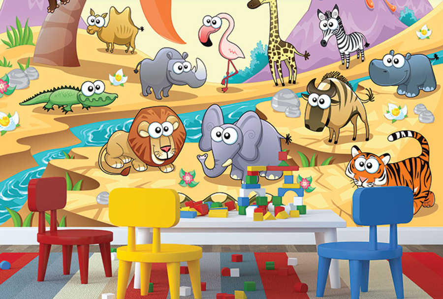 Cute African animals near the river kids room wall mural