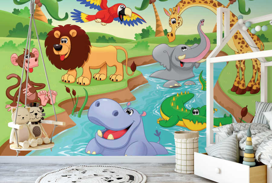 African animals floating in the river kids room wall mural