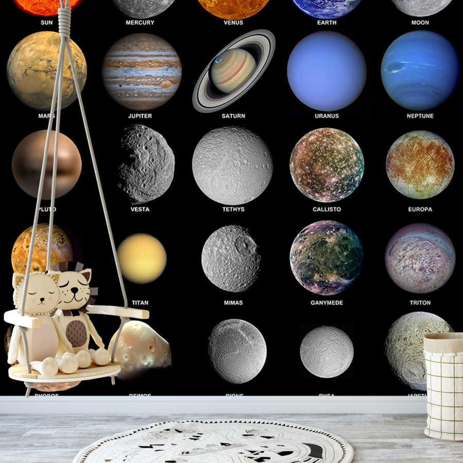 Güneş sistemi ve gezegenler çocuk odası duvar kağıdı