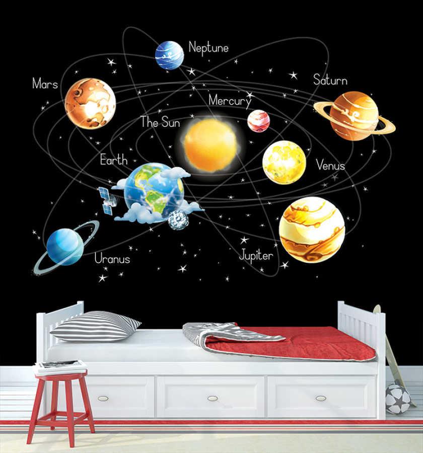 Güneş sistemi uzay ve gezegenler çocuk odası duvar kağıdı
