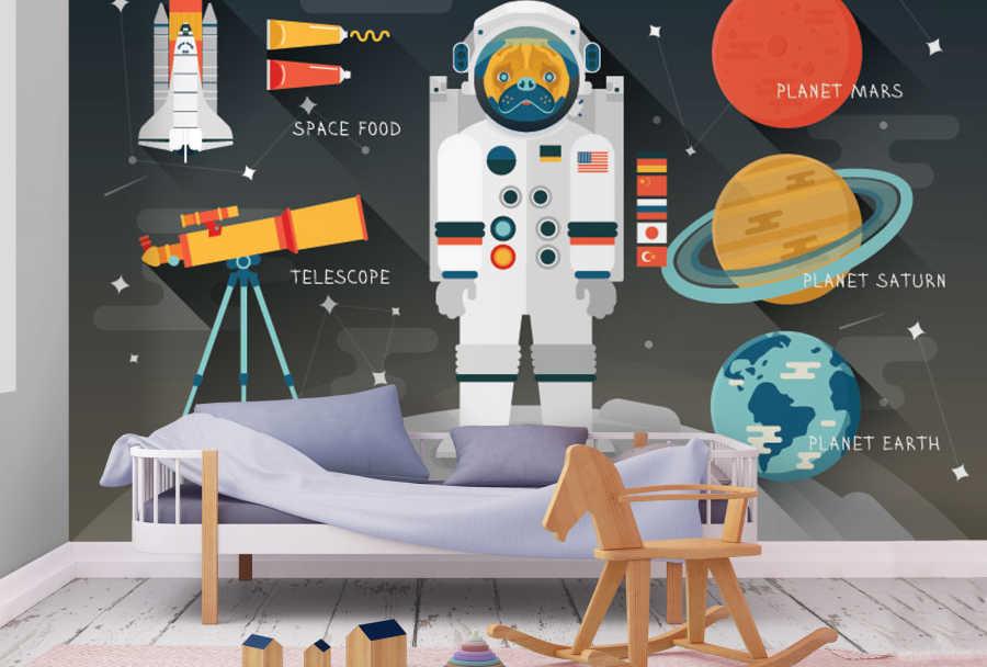 Astronaut moon walk telescope space kids room wallpaper