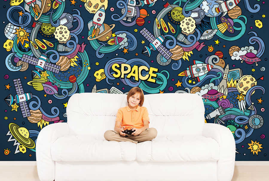 Chaotic Space drawing kids room wallpaper