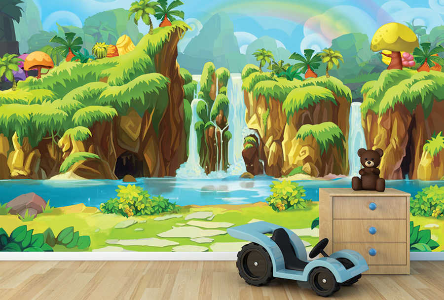 Cartoon waterfall with rainbow and forest kids wall mural
