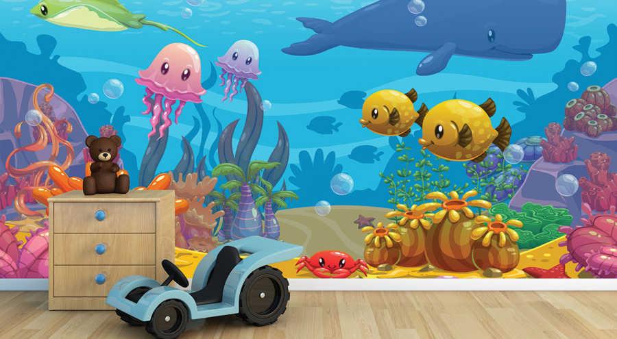 Deniz altında balıklar yengeç balina çocuk duvar kağıdı