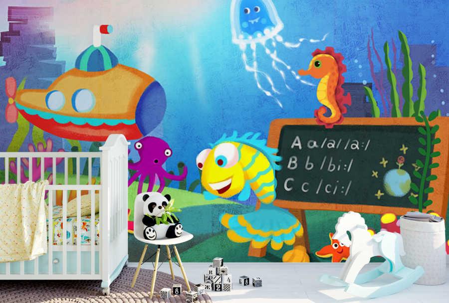 Deniz anası ahtapot ve su altı çocuk odası duvar kağıdı