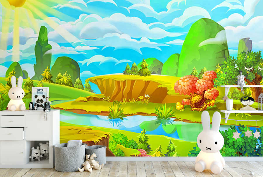 Flowing river at valley in sunny day kids room wall mural