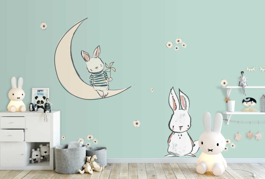 Bunny sitting on moon wit pinwheel baby room wall mural