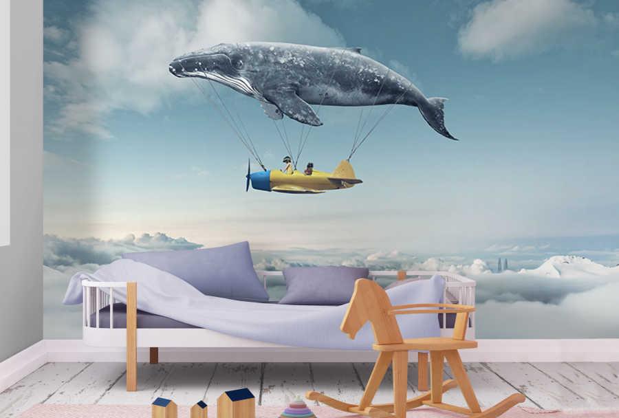 Bulutlar üzerinde uçan balina çocuk odası duvar kağıdı