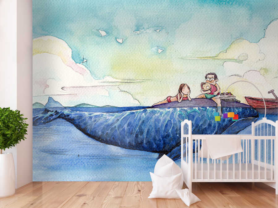 Family vacation on blue whale kids room wall mural